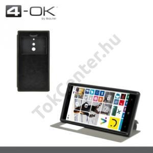 Nokia Lumia 830 4-OK tok álló, bőr (FLIP, oldalra nyíló, asztali tartó funkció, hívószámkijelzés, S-View Cover) FEKETE