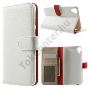 HTC Desire 820 Tok álló, bőr (FLIP, mágneses, bankkártya tartó, fényképtartó, asztali tartó funkció) FEHÉR