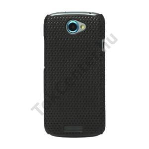 HTC One S (Z520e) Műanyag telefonvédő lyukacsos FEKETE