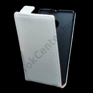 Microsoft Lumia 532 Tok álló, bőr (FLIP, mágneses, karbon minta) FEHÉR