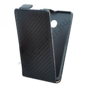 Microsoft Lumia 532 Tok álló, bőr (FLIP, mágneses, karbon minta) FEKETE