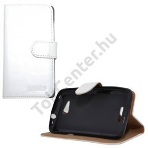 Sony Xperia E4g Tok álló, bőr (FLIP, oldalra nyíló, asztali tartó funkció) FEHÉR