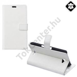 Sony Xperia E4 (E2105) Tok álló, valódi bőr (FLIP, oldalra nyíló, asztali tartó funkció) FEHÉR