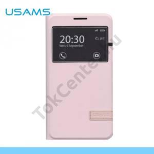 Samsung Galaxy E7 (SM-E700) USAMS MUGE tok álló, bőr (FLIP, oldalra nyíló, asztali tartó funkció, View Window) RÓZSASZÍN