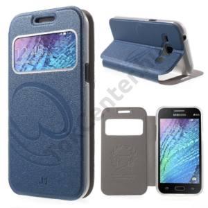Samsung Galaxy J1 (SM-J100) Tok álló, bőr (FLIP, oldalra nyíló, asztali tartó funkció, S-View Cover) KÉK