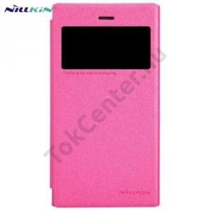 BlackBerry Z3 NILLKIN SPARKLE műanyag telefonvédő (mikroszálas bőr flip, oldalra nyíló) MAGENTA