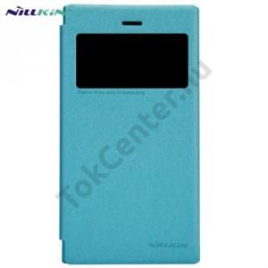 BlackBerry Z3 NILLKIN SPARKLE műanyag telefonvédő (mikroszálas bőr flip, oldalra nyíló) VILÁGOSKÉK