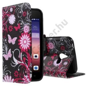 Huawei Ascend Y550 Tok álló, bőr (FLIP, oldalra nyíló, asztali tartó funkció, pillangó, virágminta) FEKETE