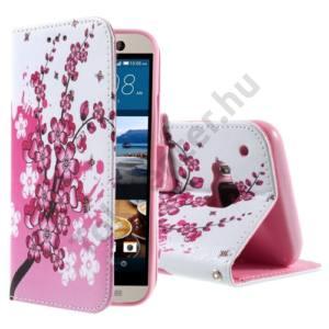 HTC One 2015 (M9) Tok álló, bőr (FLIP, oldalra nyíló, asztali tartó funkció, virágminta) FEHÉR