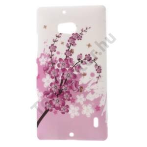Nokia Lumia 929 Műanyag telefonvédő (virágminta) FEHÉR
