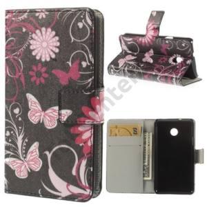 Huawei Ascend Y330 Tok álló, bőr (FLIP, mágneses, oldalra nyíló, bankkártya tartó, asztali tartó funkció, pillangó, virágminta) FEKETE