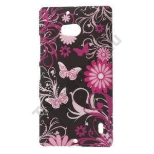 Nokia Lumia 929 Műanyag telefonvédő (pillangó, virágminta) FEKETE