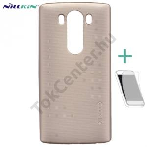 LG V10 (H960A) NILLKIN SUPER FROSTED műanyag telefonvédő (gumírozott, érdes felület, képernyővédő fólia, tisztítókendő) ARANY