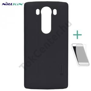 LG V10 (H960A) NILLKIN SUPER FROSTED műanyag telefonvédő (gumírozott, érdes felület, képernyővédő fólia, tisztítókendő) FEKETE
