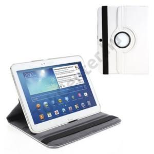 Samsung Galaxy Tab3 10.1 (P5200) Tok álló, bőr (FLIP, asztali tartó funkció, 360°-ban forgatható) FEHÉR