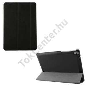 HTC Nexus 9 Műanyag telefonvédő (FLIP, bőrhátlap, oldalra nyíló, TRIFOLD asztali tartó funkció) FEKETE