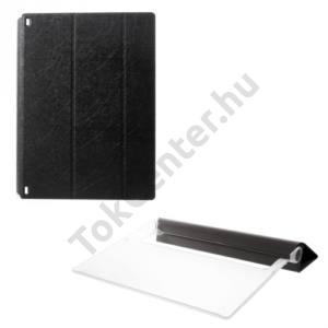 Univerzális Műanyag telefonvédő (FLIP, átlátszó hátlap, oldalra nyíló, TRIFOLD asztali tartó funkció) FEKETE Lenovo Yoga Tablet 2 8