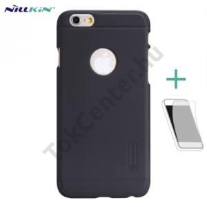 Apple iPhone 6 4.7`` NILLKIN SUPER FROSTED műanyag telefonvédő (gumírozott, érdes felület, képernyővédő fólia, tisztítókendő) FEKETE