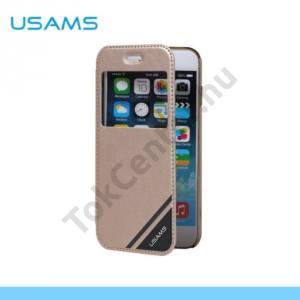 Apple iPhone 6 4.7`` USAMS műanyag telefonvédő (bőr flip, műanyag hátlap, oldalra nyíló, S-View cover) ARANY
