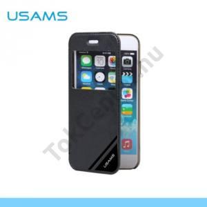 Apple iPhone 6 4.7`` USAMS műanyag telefonvédő (bőr flip, műanyag hátlap, oldalra nyíló, S-View cover) FEKETE