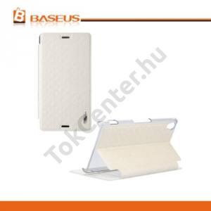 Sony Xperia Z3 (D6653) BASEUS BROCADE tok álló, bőr (FLIP, oldalra nyíló, asztali tartó funkció, rombuszminta) FEHÉR