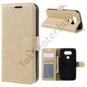 LG G5 (H850) Tok álló, bőr (FLIP, mágneses, oldalra nyíló, asztali tartó funkció, textil hatás) ARANY