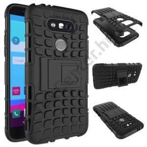 LG G5 (H850) Defender műanyag telefonvédő (közepesen ütésálló, gumi / szilikon betét, kitámasztó) FEKETE