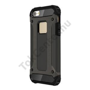 Apple iPhone 5 / 5S / SE Defender műanyag telefonvédő (közepesen ütésálló, gumi / szilikon belső, fémhatás) BRONZ