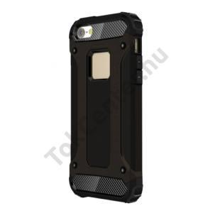 Apple iPhone 5 / 5S / SE Defender műanyag telefonvédő (közepesen ütésálló, gumi / szilikon belső, fémhatás) FEKETE