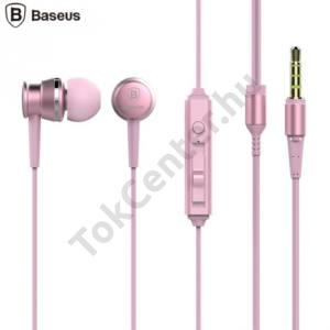 BASEUS LARK james bond SZTEREO (3.5 mm jack, mikrofon, felv.gomb, hangerő szabályzó, agybadugós,3 pár fülgumi) RÓZSASZÍN