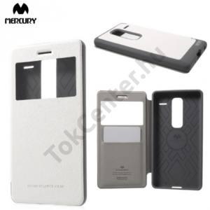 LG Zero (H650E) MERCURY Wow Bumper tok álló, bőr (FLIP, oldalra nyíló, S-View cover, textilminta) FEHÉR