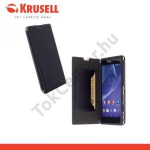 Sony Xperia T3 (D5103) KRUSELL FlipCase KIRUNA, műanyag telefonvédő (mágneses, oldalra nyíló bőr flip, bankkártya tartó) FEKETE