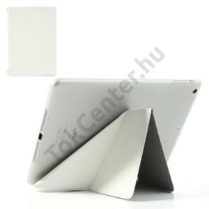 Apple IPAD Air Műanyag telefonvédő (FLIP, bőr, oldalra nyíló, TRIANGLE asztali tartó funkció) FEHÉR
