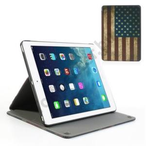 Apple IPAD Air Műanyag telefonvédő (bőr flip, asztali tartó funkció, zászlóminta) USA