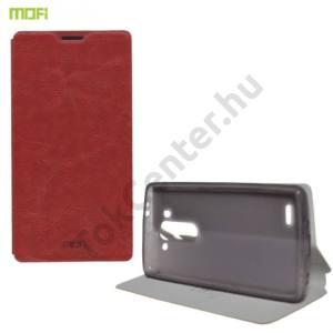 LG G3 S (D722) MOFI RUI tok álló, bőr (FLIP, oldalra nyíló, asztali tartó funkció, szilikon tartó) BARNA