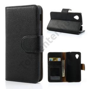 LG Nexus 5 (D821) Tok álló, bőr (FLIP, oldalra nyíló, bankkártya tartó, fényképtartó, asztali tartó funkció) FEKETE