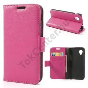 LG Nexus 5 (D821) Tok álló, bőr (FLIP, mágneses, oldalra nyíló, bankkártya tartó, asztali tartó funkció) RÓZSASZÍN