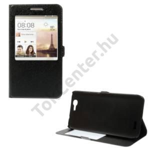 Huawei Ascend G7 Tok álló, bőr (FLIP, mágneses, oldalra nyíló, asztali tartó funkció, S-View Cover, selyem hatás) FEKETE