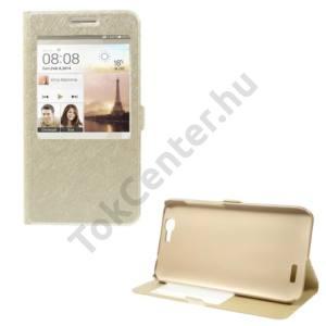 Huawei Ascend G7 Tok álló, bőr (FLIP, mágneses, oldalra nyíló, asztali tartó funkció, S-View Cover, selyem hatás) ARANY