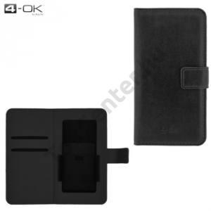4-OK tok UNIV álló, bőr (oldalra nyíló, bankkártya tartó, 6,0'', csúsztatható, állítható készülék rögzítés) FEKETE