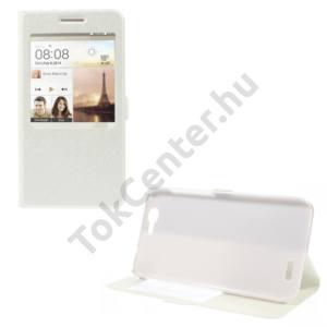 Huawei Ascend G7 Tok álló, bőr (FLIP, mágneses, oldalra nyíló, asztali tartó funkció, S-View Cover, selyem hatás) FEHÉR
