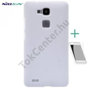 Huawei Ascend Mate 7 NILLKIN SUPER FROSTED műanyag telefonvédő (gumírozott, érdes felület, képernyővédő fólia, tisztítókendő) FEHÉR