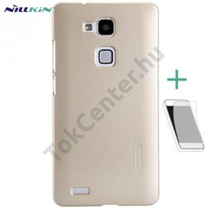 Huawei Ascend Mate 7 NILLKIN SUPER FROSTED műanyag telefonvédő (gumírozott, érdes felület, képernyővédő fólia, tisztítókendő) ARANY