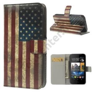 HTC Desire 310 Tok álló, bőr (FLIP, mágneses, oldalra nyíló, bankkártya tartó, asztali tartó funkció, zászlóminta) USA