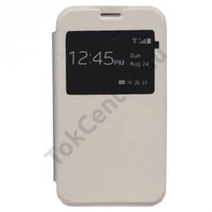 Sony Xperia E4 (E2105) Tok álló, bőr (FLIP, oldalra nyíló, S-View Cover) FEHÉR
