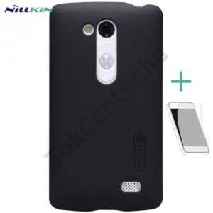 LG L70+ L Fino (D290n) NILLKIN SUPER FROSTED műanyag telefonvédő (gumírozott, érdes felület, képernyővédő fólia, tisztítókendő) FEKETE