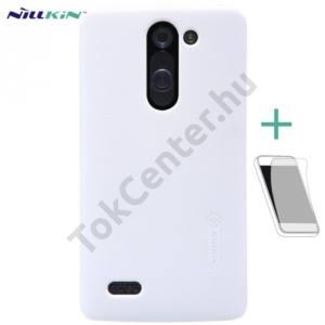 LG L80+ L Bello (D331)  NILLKIN SUPER FROSTED műanyag telefonvédő (gumírozott, érdes felület, képernyővédő fólia, tisztítókendő) FEHÉR