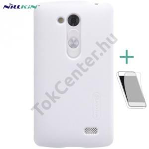 LG L70+ L Fino (D290n) NILLKIN SUPER FROSTED műanyag telefonvédő (gumírozott, érdes felület, képernyővédő fólia, tisztítókendő) FEHÉR
