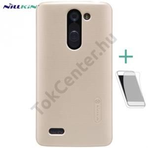 LG L80+ L Bello (D331)  NILLKIN SUPER FROSTED műanyag telefonvédő (gumírozott, érdes felület, képernyővédő fólia, tisztítókendő) ARANY
