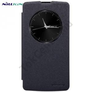 LG L80+ L Bello (D331)  NILLKIN SPARKLE műanyag telefonvédő (mikroszálas bőr flip, oldalra nyíló, hívószámkijelzés, View Window) FEKETE